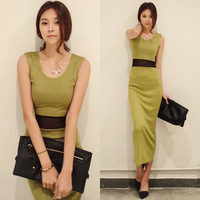 New 2014 Sexy Perspective gauze waist sleeveless tank women's one-piece dress fashion arrival work suit