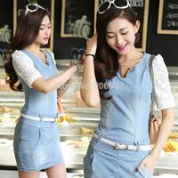 Free shipping 2015 Women's fashion casual Slim Lace stitching denim Dresses Size S M L XL
