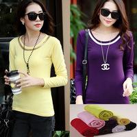 2014 Autumn Slim O-neck Paillette Basic Shirt Women's T-shirt lLong-sleeve Blouse