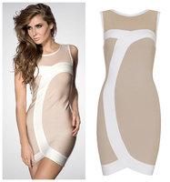 New 2014 Women Winter Dress Sexy Party Dress Bandage Beige Sleeveless Grid Titching Bandage Bodycon Dress