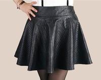 2014 autumn women's bust PU plaid high waist pleated puff short leather skirt