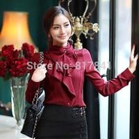 Blusas femininas 2014 New Autumn plus size clothing ruffle slim thin long-sleeve shirt chiffon shirt work wear women blouse