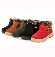 New arrival children winter boots high quality genuine leather kids snow boots with fur warm boy shoes