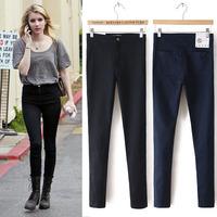2014 fashion star style all-match high waist denim elastic skinny pants