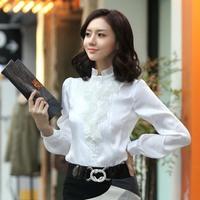 New Arrival blusas femininas 2014 autumn work wear slim chiffon shirt ruffle long-sleeve shirt plus size clothing women blouse