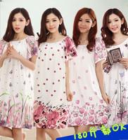 Summer sleepwear female plus size the broadened 100% cotton nightgown ultralarge mm xxxxl maternity lounge