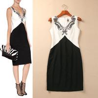 Autumn New Arrival 2014 Elegant Curve Beading Slim Hip Dress V-Neck Work one-piece dress