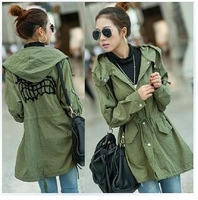 2014 autumn coat loose plus size women's trench outerwear medium-long embroidered casual outerwear
