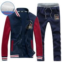 New arrival autumn fashion fleece sport suit for men casual slim men clothing set hot sports men's suit