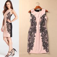 Autumn New Arrival 2014 Pinioning O-neck Embroidered Sleeveless Dress Slim Hip Slim One-piece Dress