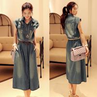 2014 summer casual denim dress full  plus size denim one-piece dress short-sleeve denim skirt