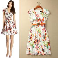 [REAL SHOT] 2014 New Arrival Spiritualism Gentlewomen Flower Print V-neck Dress Short-sleeve Slim One-piece Dress Plus Size
