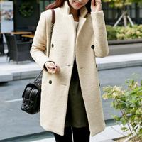 2014 Women coat medium-long plus size double breasted woolen outerwear female elegant slim thickening overcoat