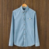 Autumn male long-sleeve denim shirt men's clothing shirt slim 100% cotton