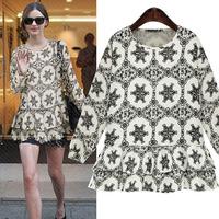 Plus size clothing 2014 fashion print shirt female long-sleeve print top