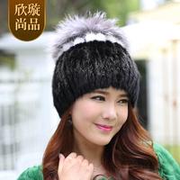 Mink fur hair hat women's mink hat fox fur ball winter hat marten g125