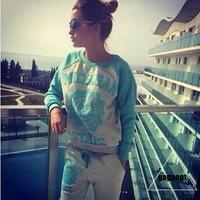 Women Tracksuit Sweatshirt Casual 2014 New Winter Hoody Hot Sale Fashion Sports Suit Free Shipping LJ91602