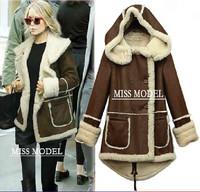 2014 Winter Coat Jacket Outwear  new fashion women lamb's wool warm padded Girls long paragraph thick coat cotton coat KN048