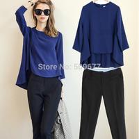 2014 fashion plus size clothing fashion elegant loose top skinny casual pants set female set size S-XXXL