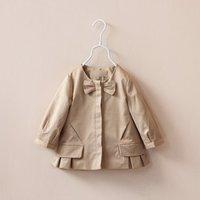 Autumn children's clothing girls bow outerwear flower girl's beige trench 2014 new little girls coat kids top jackets