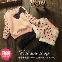 Children's clothing 2014 autumn and winter female child princess plus velvet sports set sweatshirt culottes twinset