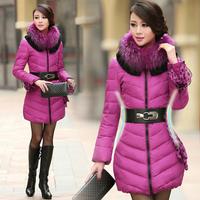 Winter Women Down Jacket Elegant Long Design Slim Waist Lace Belt And Sleeve Cuff 6 Color Big Fur Collar Super Keep Warm Parkas