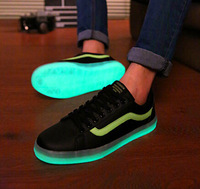 2014 New Men Fashion Luminous Casual Sneakers Neon Cool Young Boy Sport Shoes Glow In The Dark Size 39-44