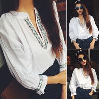Women's fashion all-match V-neck vintage loose o-neck shirt female