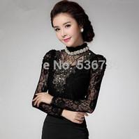 new 2014 autumn luxury stand collar embroidery beading chiffon blouse fashion vintage  female long sleeve lace basic shirt top