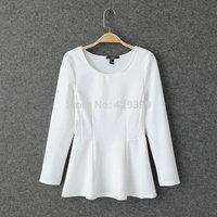 Women's 2014 autumn elegant slim all-match o-neck long-sleeve slim waist skirt top