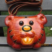 Genuine leather handmade cute bags women's mini shoulder bags cartoon tiger cross-body mobile phone bag