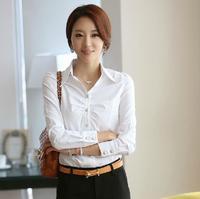Women's basic shirt white shirt long-sleeve chiffon shirt female work wear