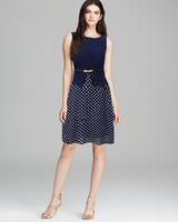 Women fashion elegant sleeveless polka dot chiffon one-piece blue dress false two pieces plus size dress