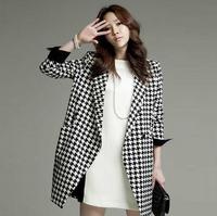 Fashion plaid coat 2014 autumn plus size clothing slim female blazer suit medium-long outerwear women trench
