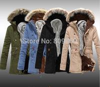 2014 male autumn and winter medium-long repair wadded jacket teenage wool cotton-padded jacket