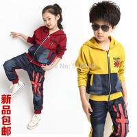 2014 child autumn denim patchwork with a hood cardigan child torx flag zipper casual sportswear set