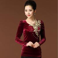 2014 Autumn Winter Plus size Women clothing Gold velvet Tops Women's long-sleeve T-shirt Embroidery basic Casual shirt M-XXXL