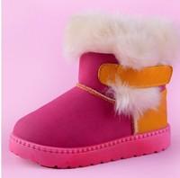 Children's Boots Winter Boy Girls Warm Winter Flat Snow Boots red  Brown orange 2014 Fashion Warm Shoes 24-29