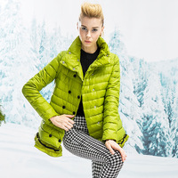 Fashion Women Down Jacket 2014 Turtleneck Ruffle Hem Women's Medium-long Down Coat