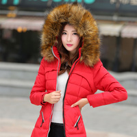 White duck down 990 2014 large fur collar winter down coat medium-long female slim down coat