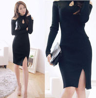 new 2014 sexy strapless Hollow out side slit long sleeve black slim dress vintage autumn women's work pullover
