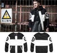 2014 hot fashion autumn and winter PU patchwork black and white color block  baseball jacket men gd baseball uniform outerwear