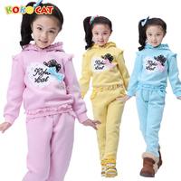 Autumn and winter children's clothing child hooded sweatshirt set beautiful female child set plus velvet thickening