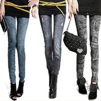 Hot-selling 2014 thin faux denim legging women's brushed plus velvet thickening ankle length trousers