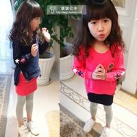 zipper Five-pointed star Pattern sweatshirt  basic ankle length trousers skirt Children's clothing autumn 2014 set female child