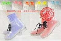 Transparent crystal women's colorful flat heel low rainboots martin boots rain boots female