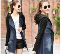 XXL High quality Fashion patchwork Denim outerwear trench female 2014 autumn coat medium-long plus size women's top