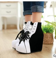 2014 women's lace up autumn winter lacing wedges 14cm high heels rhinestone platform all-match ankle boots lady shoes SJ8899-9
