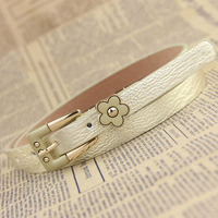 Fashion sweet flower small strap  female decoration paint touch pin buckle thin belt women's all-match belts free shipping