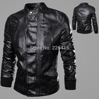 Free Shipping Fashion 2014 Men's Leather Jacket Motorcycle Leather Jacket Men Solid Man Jacket HOT SALE M-XXL